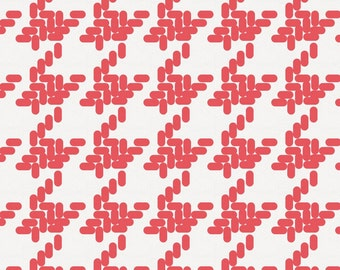 Coral Modern Houndstooth Fabric - By The Yard - Gender Neutral / Girl / Boy