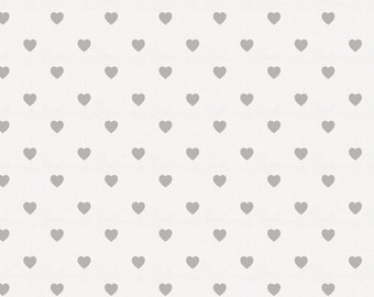 Gray Hearts Organic Fabric - By The Yard - Girl / Boy / Neutral