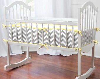 Gray and Yellow Zig Zag Cradle Bumper by Carousel Designs