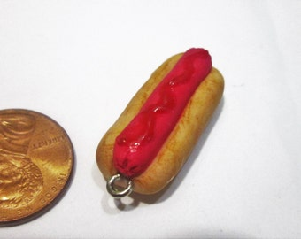 Polymer clay hot dog  miniture food charm