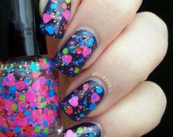 Fun ~ Indie Handmade Nail Polish 5-Free Neon Heart Glitter Lacquer