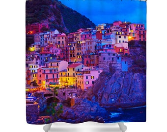 Italy Shower Curtain, Cinque Terre Shower Curtain, Italy Photography, Cinque Terre, Manarola, Art Shower Curtain, Polyester Shower Curtain