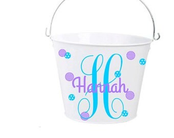 Monogram, Personalized Name, Easter Basket, Bucket with Handle