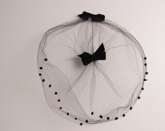 Vintage 1960s black mesh hat veil