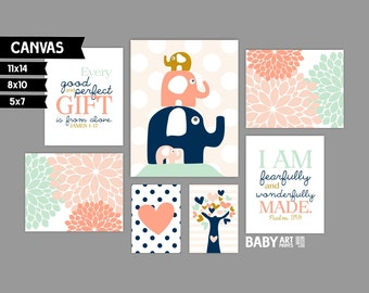 Peach, Ochre, Navy Girl Nursery canvas art prints, Set of 7, Elephants, James 1 17, Psalm 139 14, Nursery Bible Verse ( MS10146 )