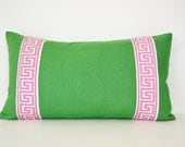 Kelly Green Pillow Cover with Pink Greek Key Trim