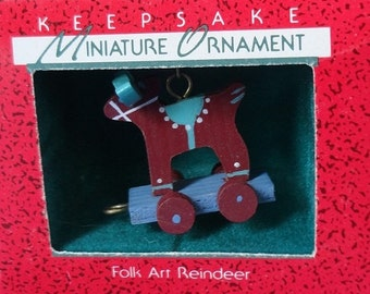 1988 Folk Art Reindeer Hallmark Retired Miniature Ornament