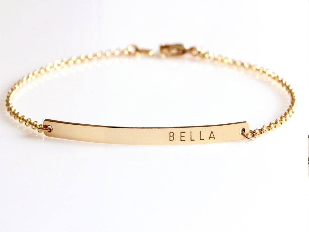 Gold Bar Bracelet Custom Name Bracelet Engraved By