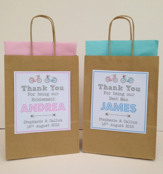 Personalised Brown Kraft Wedding Gift Bag Vintage Style Bikes