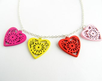 Handmade floral wooden heart tattoo inspired statement necklace