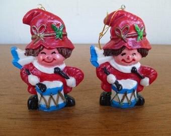 Vintage Ceramic Little Drummer Boys Christmas Ornaments