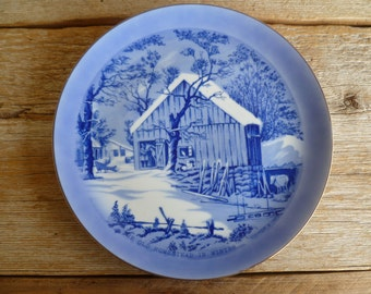 "Vintage Currier & Ives Blue Plate ""The Old Homestead in Winter"""