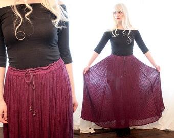 Vintage 1970s 1980s purple Indian cotton gauze ethnic drawstring embroidered hippie skirt bohemian