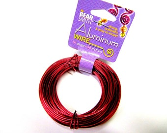 Aluminum Wire 18 Gauge Round Wire, Red, 39 Feet, Beadsmith, Craft Wire, Strong, Malleable, Easy to Shape