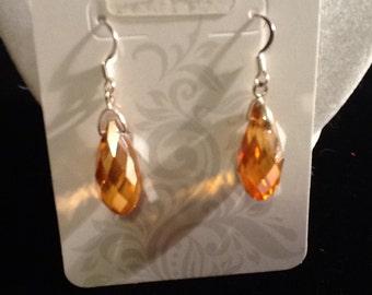 Amber Teardrop Crystal Earrings
