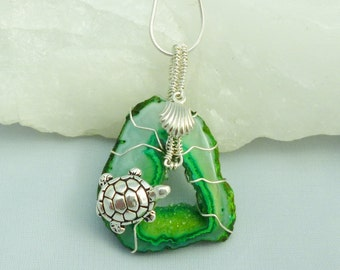 Green drusy (druzy) turtle