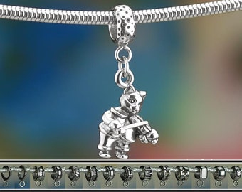 Sterling Silver Hey Diddle Diddle Cat and the Fiddle Charm or Bracelet