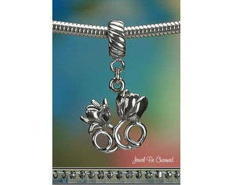 Sterling Silver Tulips Charm or European Style Charm Bracelet .925