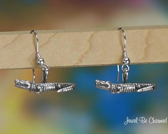 Sterling Silver Gator Earrings Fishhook Earwires Solid .925 Alligators