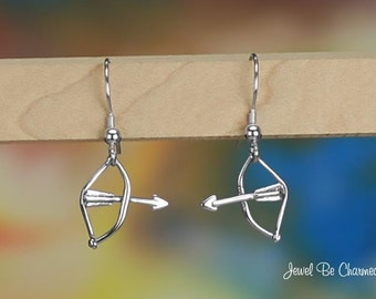 Sterling Silver Bow and Arrow Earrings Pierced Fishhook Solid .925
