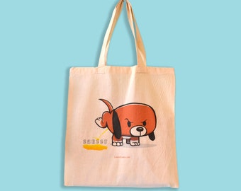 Funny Cancer Tote Bag, Dog Peeing on Cancer