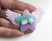 Multi Color Dreamy Star With Shooting Star and Wings Hair Clip or Brooch (pink, blue, purple)