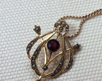 Victorian Garnet and Seed Pearl Gold Pendant