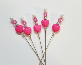 Dark Pink Heart Counting Pin