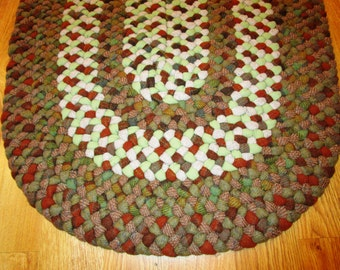 """Braided Rug; Wool; Braided & Laced by Hand; Greens, Browns, Earthtones; Runner, 25"""" x 58"""""""