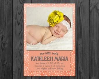 Printable Birth Announcement | Newborn Announcement | Polka Dot | Size: 5x7 | *Digital File* | by MMasonDesigns