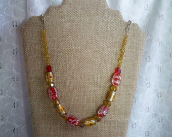 Lampwork Glass Yellow and Red Beaded Necklace ~ Silver Chain