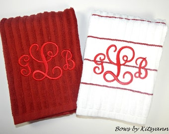 Monogrammed Dish Towel Set, Personalized, Kitchen Towel Set