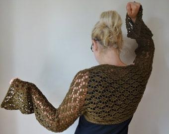 Hand knit woman's brown wool shrug bolero