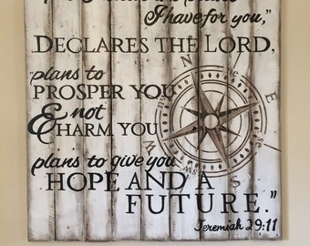 Hand painted rustic pallet wood compass sign Jeremiah 29:11