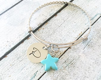 Initial bracelet - Hand stamped initial bangle - Stainless steel bracelet - Personalized bracelet - Hand stamped jewelry - Personalized gift