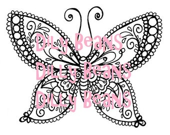 Butterfly Digi Stamp #617 Dilly Beans by Megan
