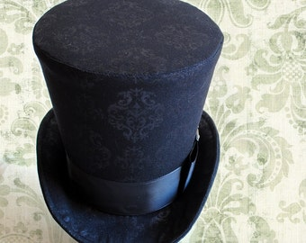 Gothic Lady'sTop Hat,Black Brocade WOMEN's Riding Top Hat,Victorian Top Hat-Ready to Ship