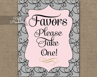 Favors Sign - Black & Pink Favor Sign - Black Lace Party Sign - Printable Favors Sign - Please Take One Sign - Bridal Shower Table Signs BLC