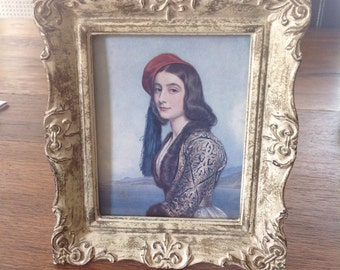 Antique picture of girl, outstanding ornate vintage frame, shabby chic