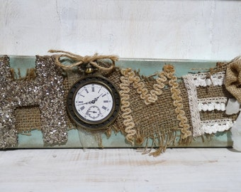 Shabby Chic 'HOME' Decorative Canvas, Wall Art, Home Decor