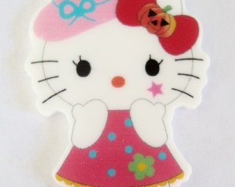 Kitty with pumpkin bow resin cabochon,2pieces