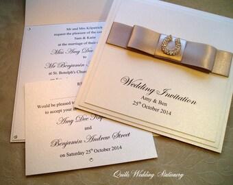 Ascot. Diamanté Horseshoe Wedding Invitation and RSVP Card. Various Colour Options for Satin Ribbon.
