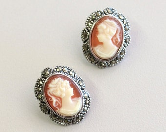 Vintage Cameo Earrings Silver Tone Cameo Posts Genuine Marcasites Made in the USA #E361