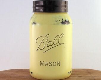 Yellow Gallon Mason Jar, Cookie Jar, Cottage, Farmhouse Kitchen, Sunny Yellow