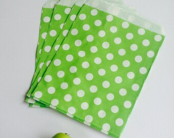 25 Green Polka Dot Flat Paper Bags/Birthday/Baby Shower/Goodies/Bakery/Gift/Wedding Favor/Party Favor