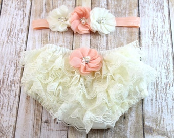 Baby Lace Diaper Cover and Headband, Ivory Lace Diaper Cover, Baby Girl Bloomer, Newborn Diapercover, Toddler Bloomer, Baby bloomer