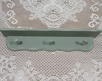Green Wooden Wall Shelf with Shaker Pegs ~Green Shabby Chic Wall Shelf ~Distressed Shabby Shelf ~ Shelf and Jewelry Organizer~Hat Rack Shelf