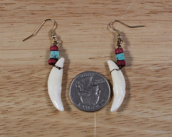 Coyote Tooth Earrings- Maroon and Turquiose