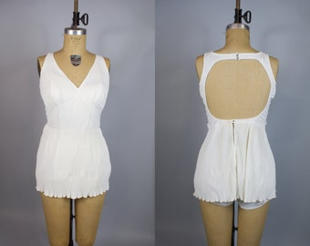 1960s White Bathing Suit / 60s Swim Suit