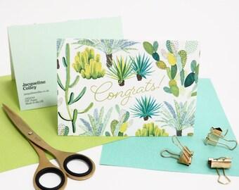 Cacti Congratulations Card, Cactus Greeting Card